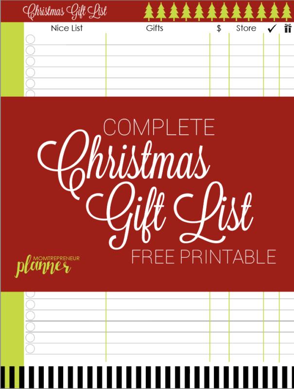 Free Printable Holiday Checklist And Christmas Gift List Template Momtrepreneur Planner