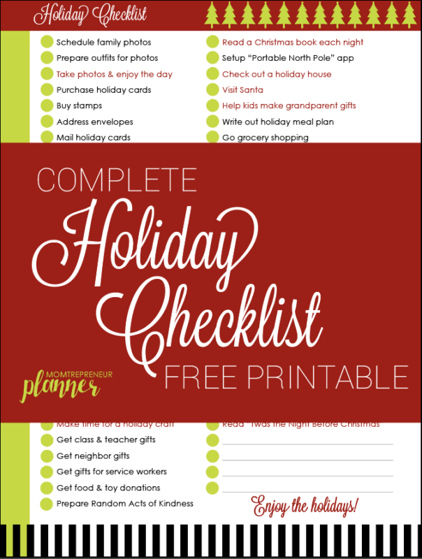 Free Printable Holiday Checklist And Christmas Gift List Template