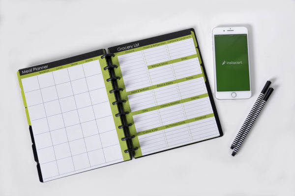 Grocery List and Meal Planner Page Spread