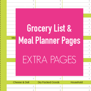 Grocery List and Meal Planner Page Extra Pages