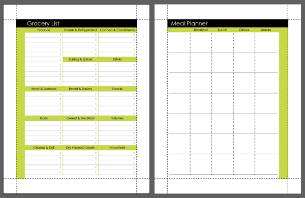 Grocery Liat and Meal Planner Page Printable