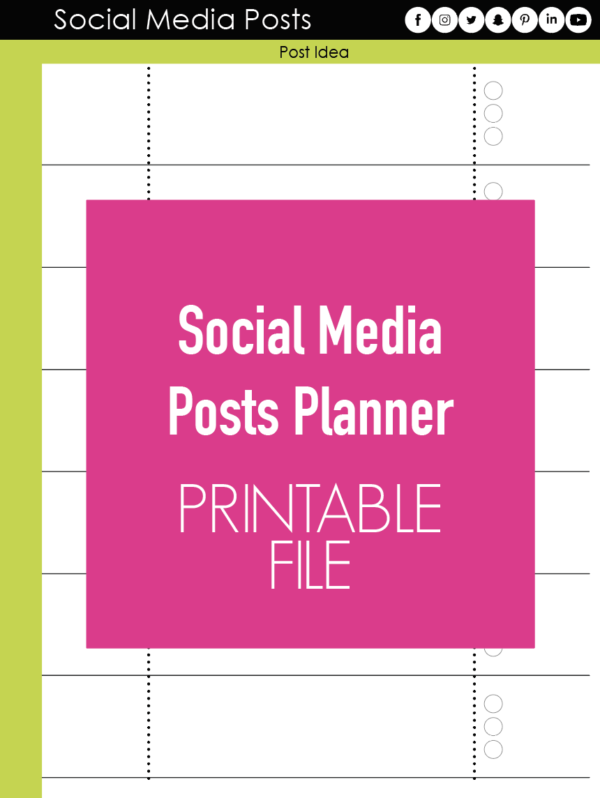 Social Media Posts Planner Page Printable File